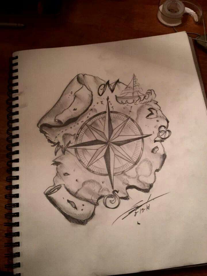 Compass Tattoo Sketch Karten Tattoos Kompasstattoo Kompass