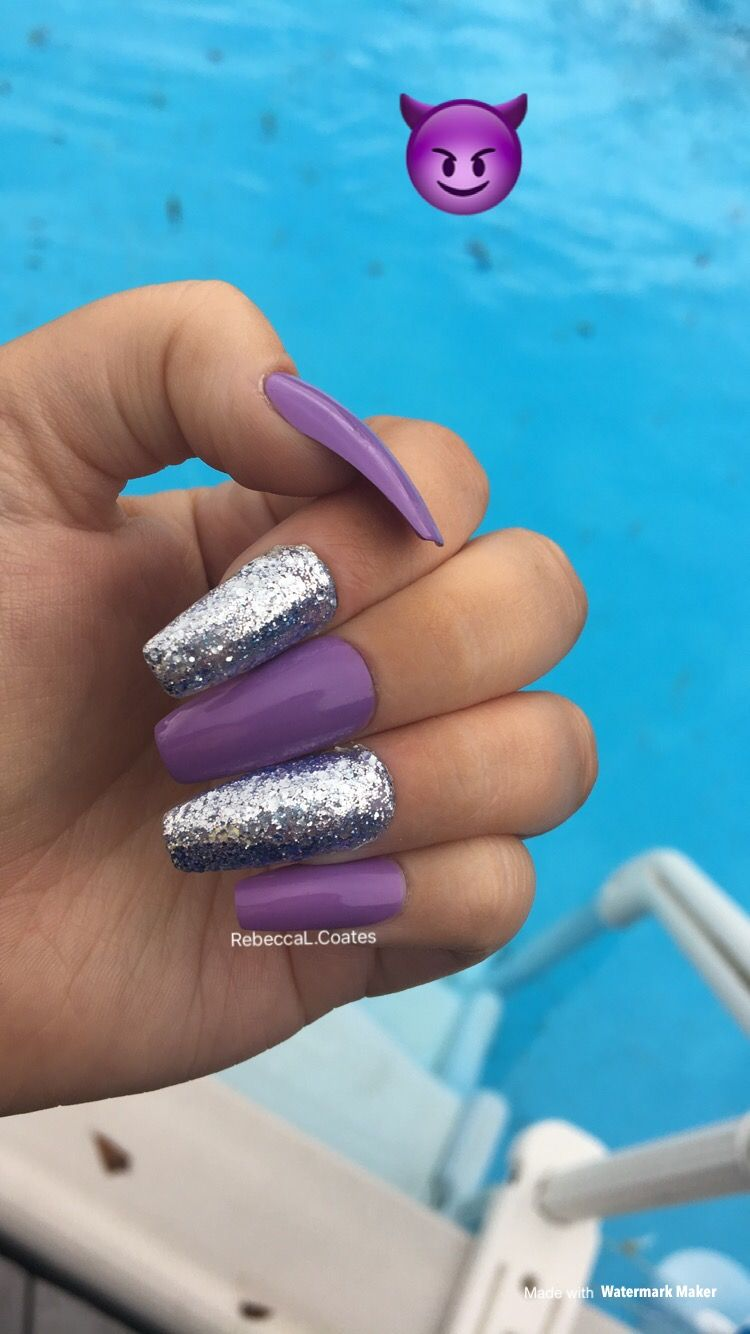 Purple And Silver Gel Nails Purple And Silver Nails Quinceanera Nails Gorgeous Nails