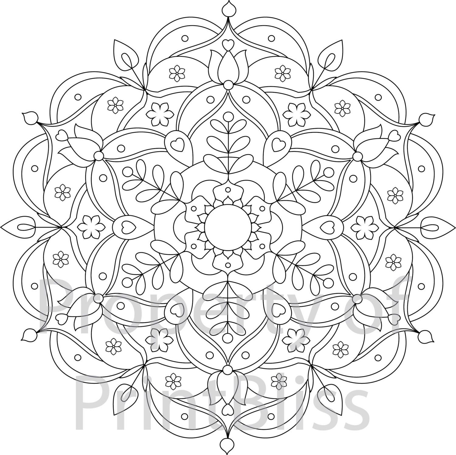 Free coloring pages kaleidoscope designs - Flower Mandala Printable Coloring Page By Printbliss On Etsy