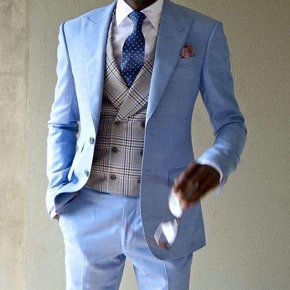 2018 Latest Coat Pant Designs Light Blue Casual Men Suit Slim Fit