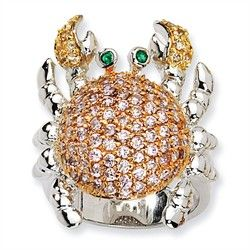 Sterling Silver CZ & Simulated Emerald Crab Ring