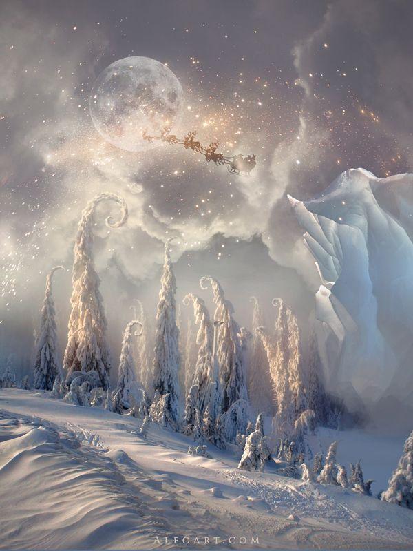 Christmas Night New Year Card Flying Santa Claus Fairy Landscape Snow Scene Trees Iceberg Stars Moon Light Santas Deers
