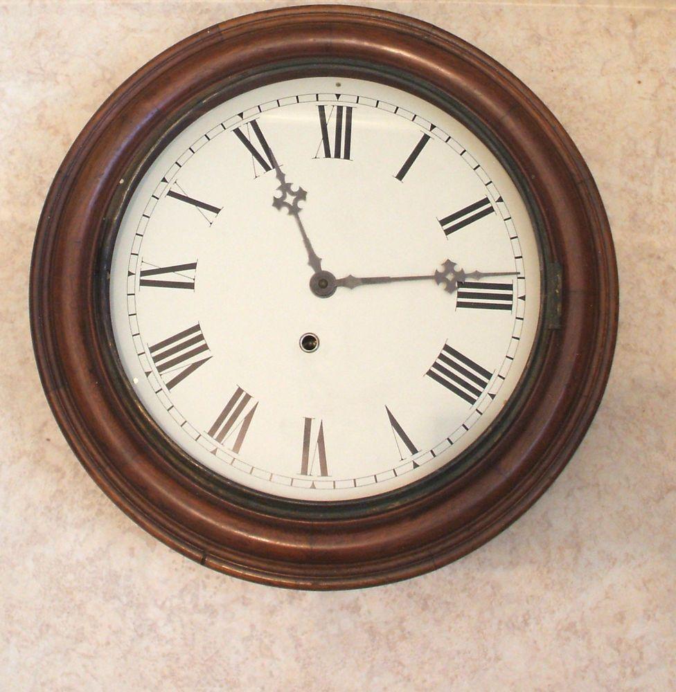 E Ingraham Clock Co American Circular Mahogany Case Timepiece Wall Clock C1900 Ingraham Clock Wall Clock Clock