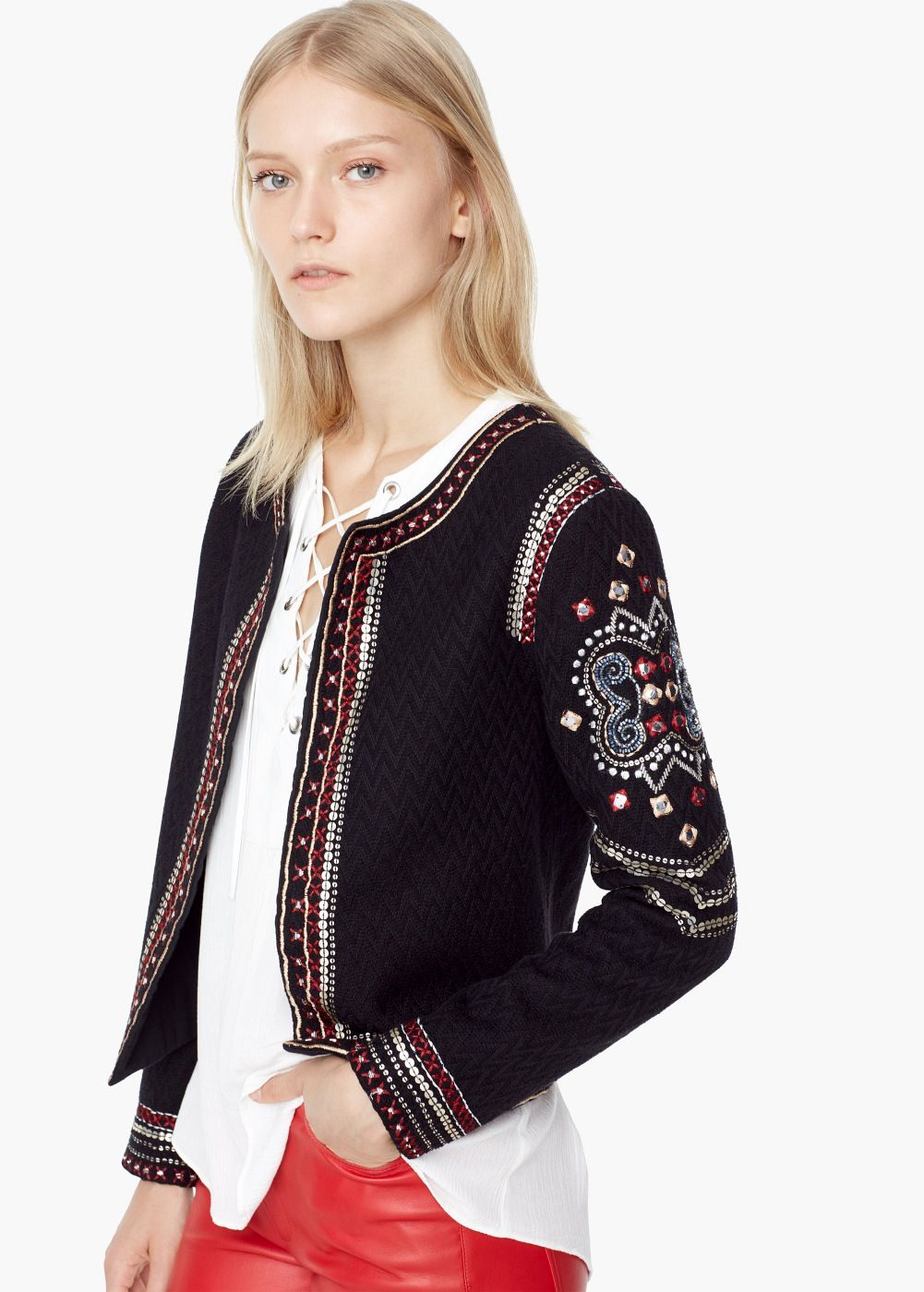 Bead embroidery jacket