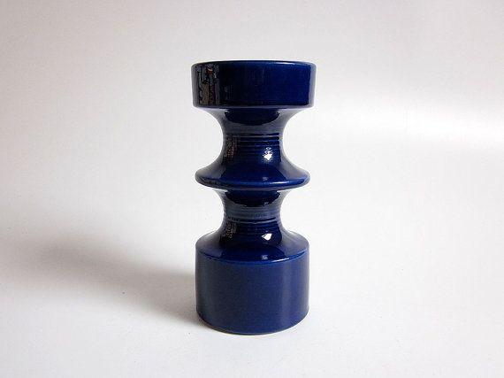 Große+Cobalt+Mid+Century+Modern+Cari+Zalloni-Kerze-Halter+von