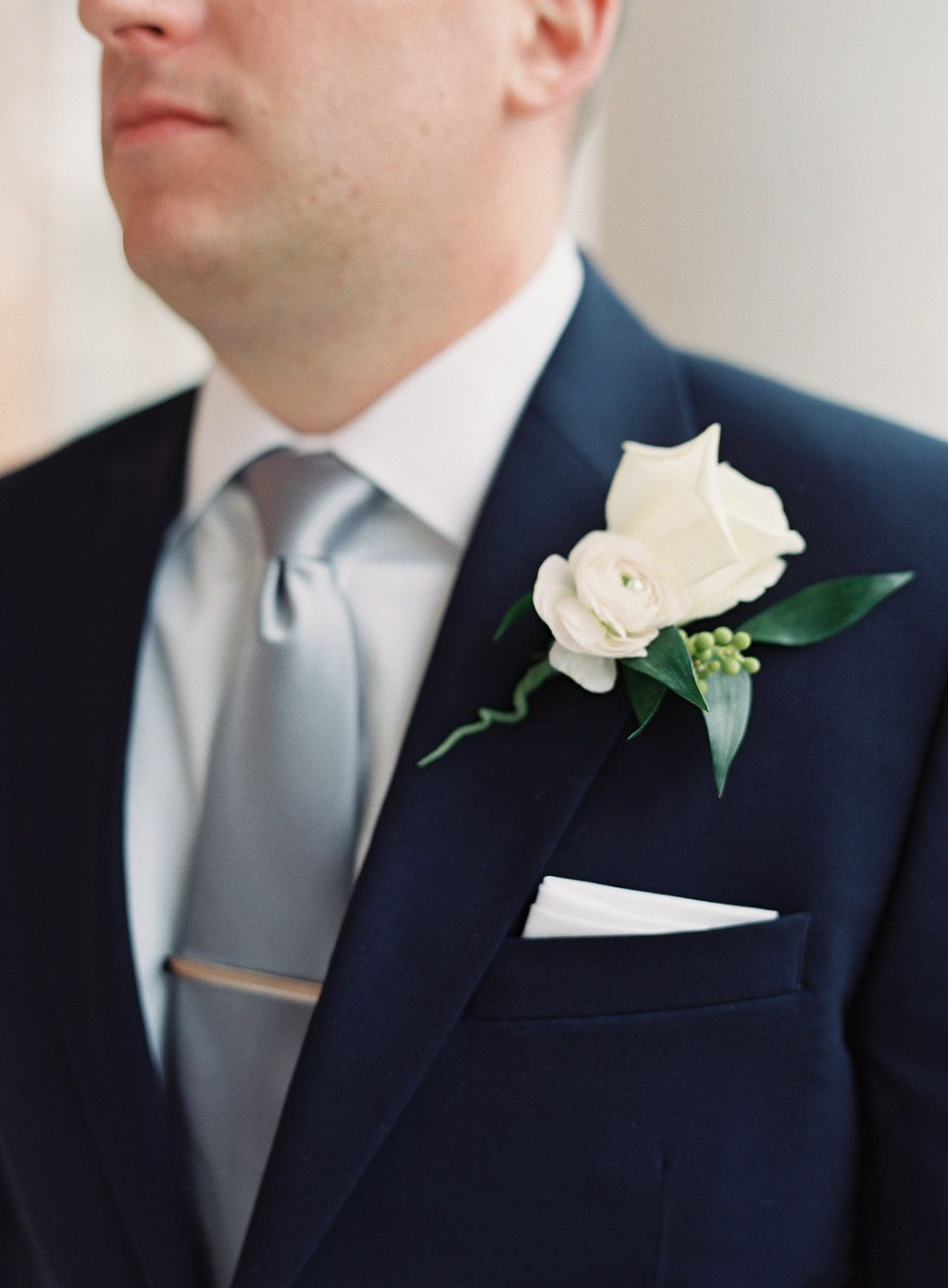 Slate blue wedding decor  Bedford Springs wedding flowers boutonniere groom white rose