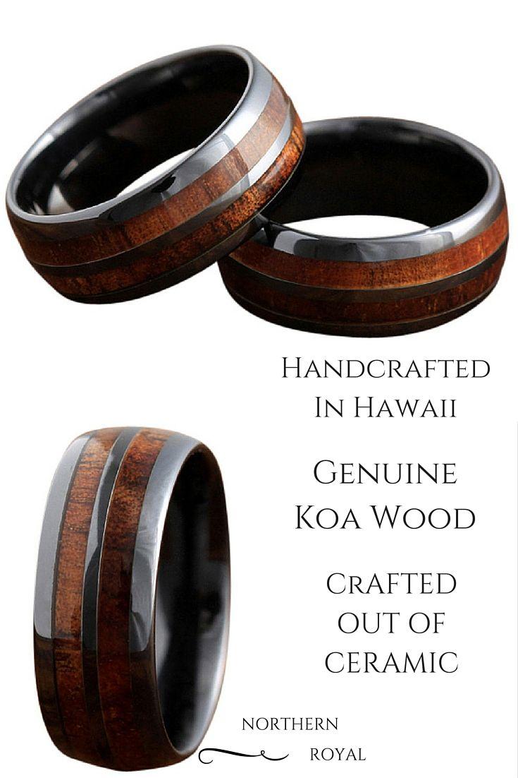 wooden wedding bands Barrel Ceramic Koa Wood Ring