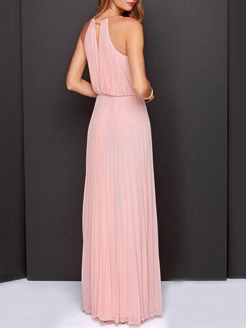 Peach Pink Cut Away Pleated Chiffon Maxi Dress | Choies | Clothing ...