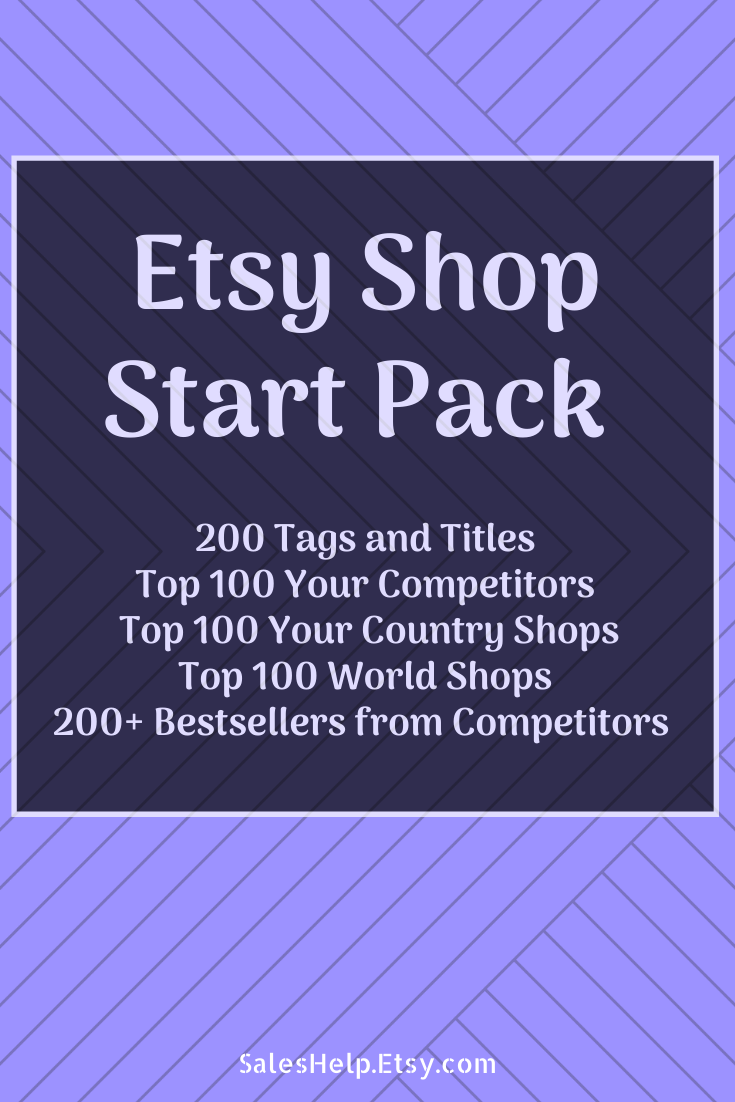 Etsy Shop Start Pack: Titles and Tags, Top Competitors, Top Country Shops, Bestsellers