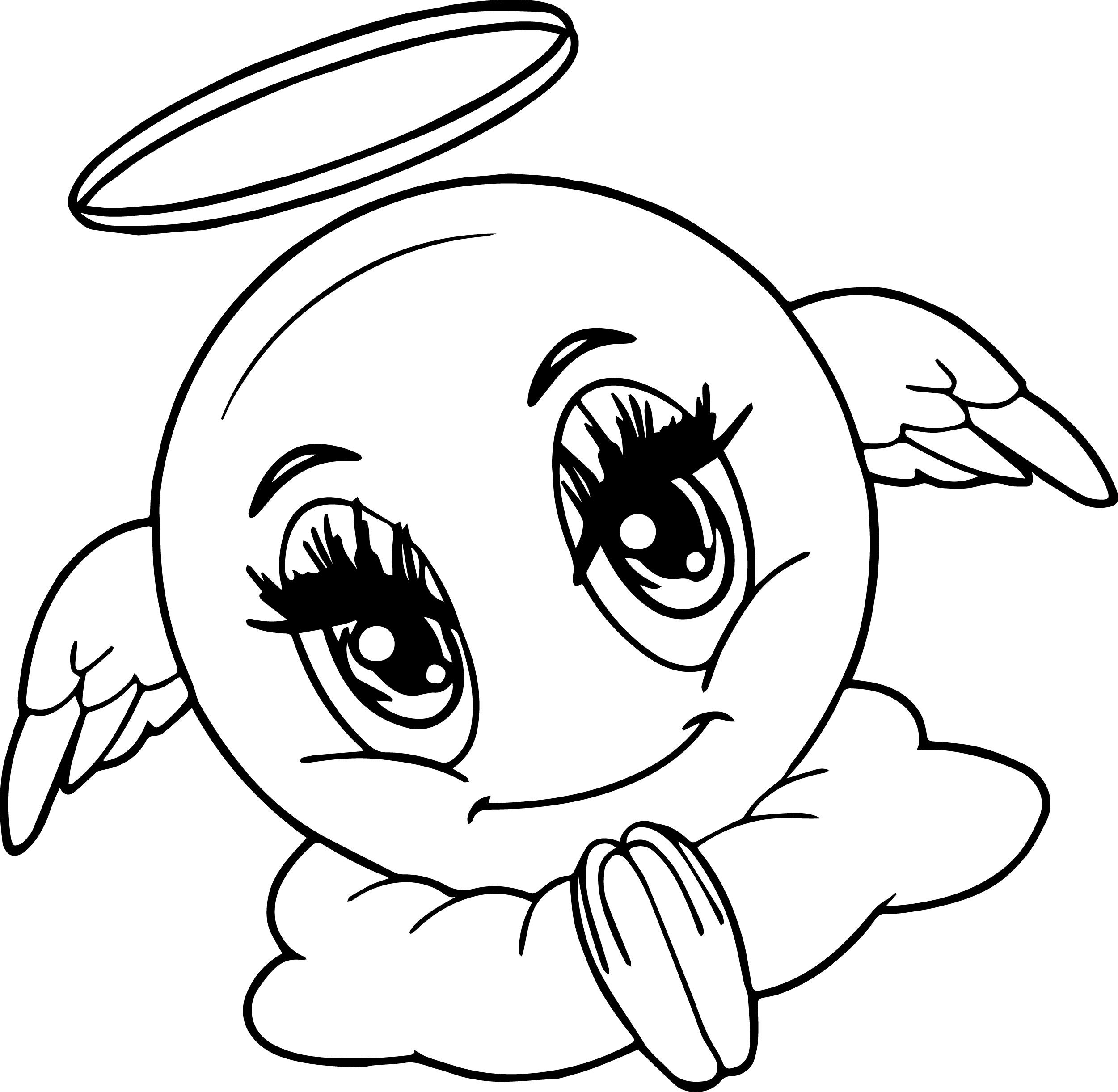 Awesome Angel Emoticon Face Coloring Page Malvorlagen Tiere Malvorlagen Malbuch Vorlagen