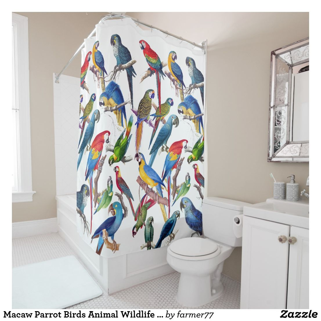 Macaw Parrot Birds Animal Wildlife Shower Curtain Zazzle Com