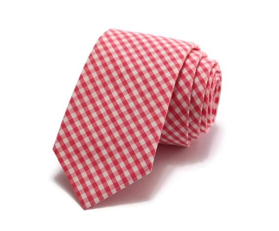 a9c4dab4c68f Watermelon Gingham Check Necktie~Anniversary Gift~Wedding Tie~Mens Gift~Boys  Necktie~Mens Necktie~We