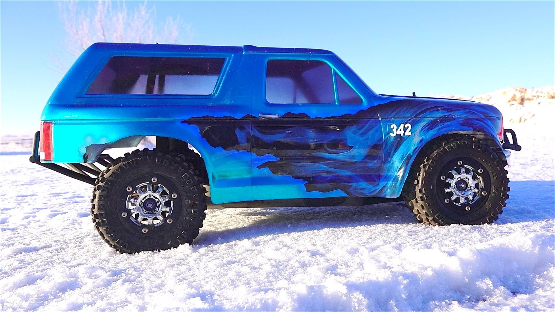Big blue bad A Traxxas truck ready to shred snow with the best of them