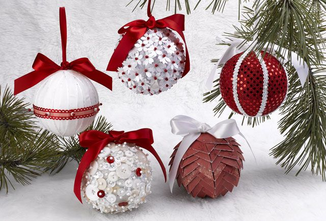 Styrofoam ornaments. Get an overview of the process of how to make them in  a quick, five minute video - Five Ornaments In Five Minutes Holiday ~ Christmas Ornaments