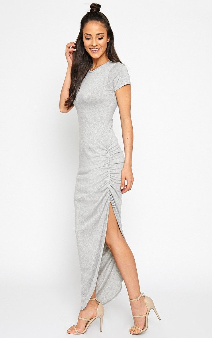 Basic grey ruched cap sleeve maxi dress image style pinterest