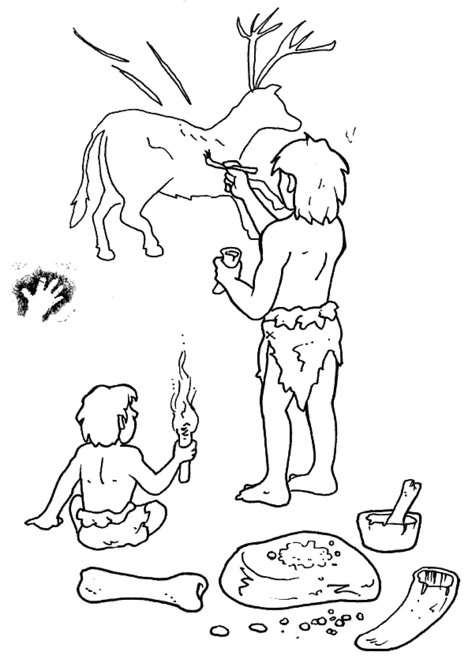 Занятия первобытных людей картинки карандашом