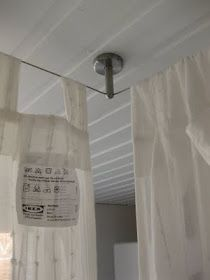 Ikea Cable Curtain Rod Canopy To Cover All The Storage Boxes In