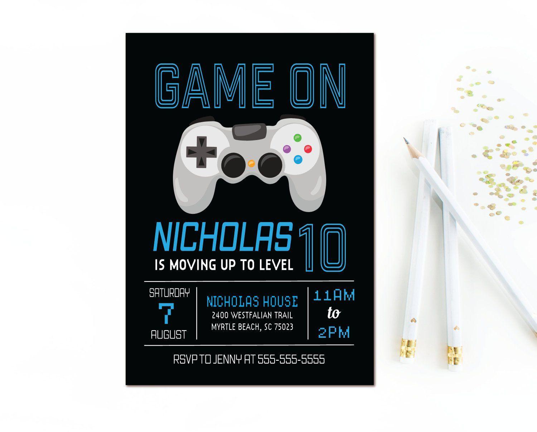 video game birthday invitation game