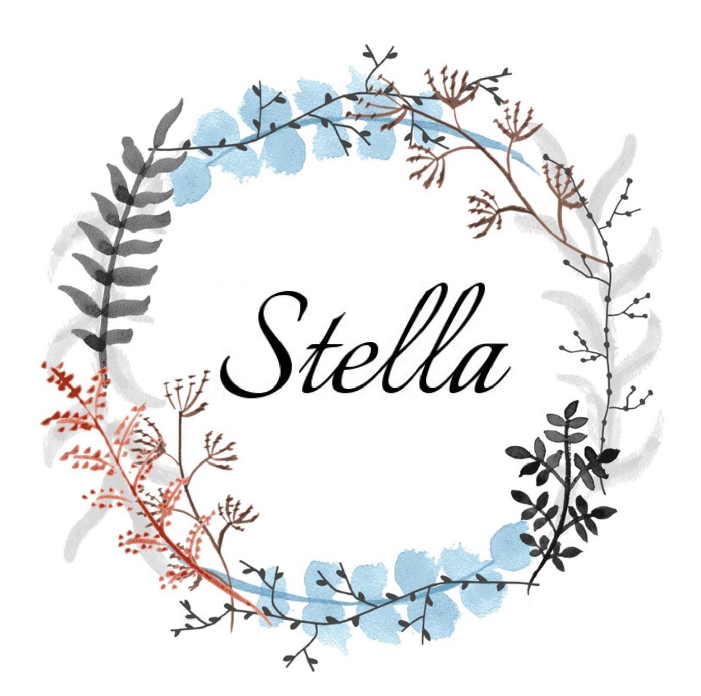Girls name in floral wreath : STELLA Stella (Latin) star ...