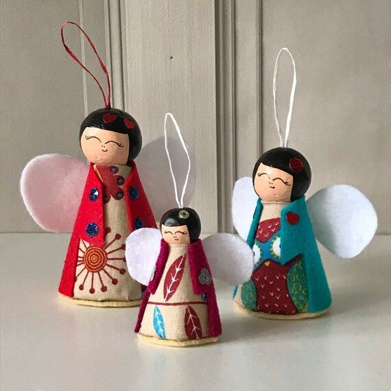 Japanese Doll inspired Angel Decorations Christmas Angels | Etsy