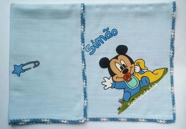 Fralda pintada à mao/handmade Mickey Mouse
