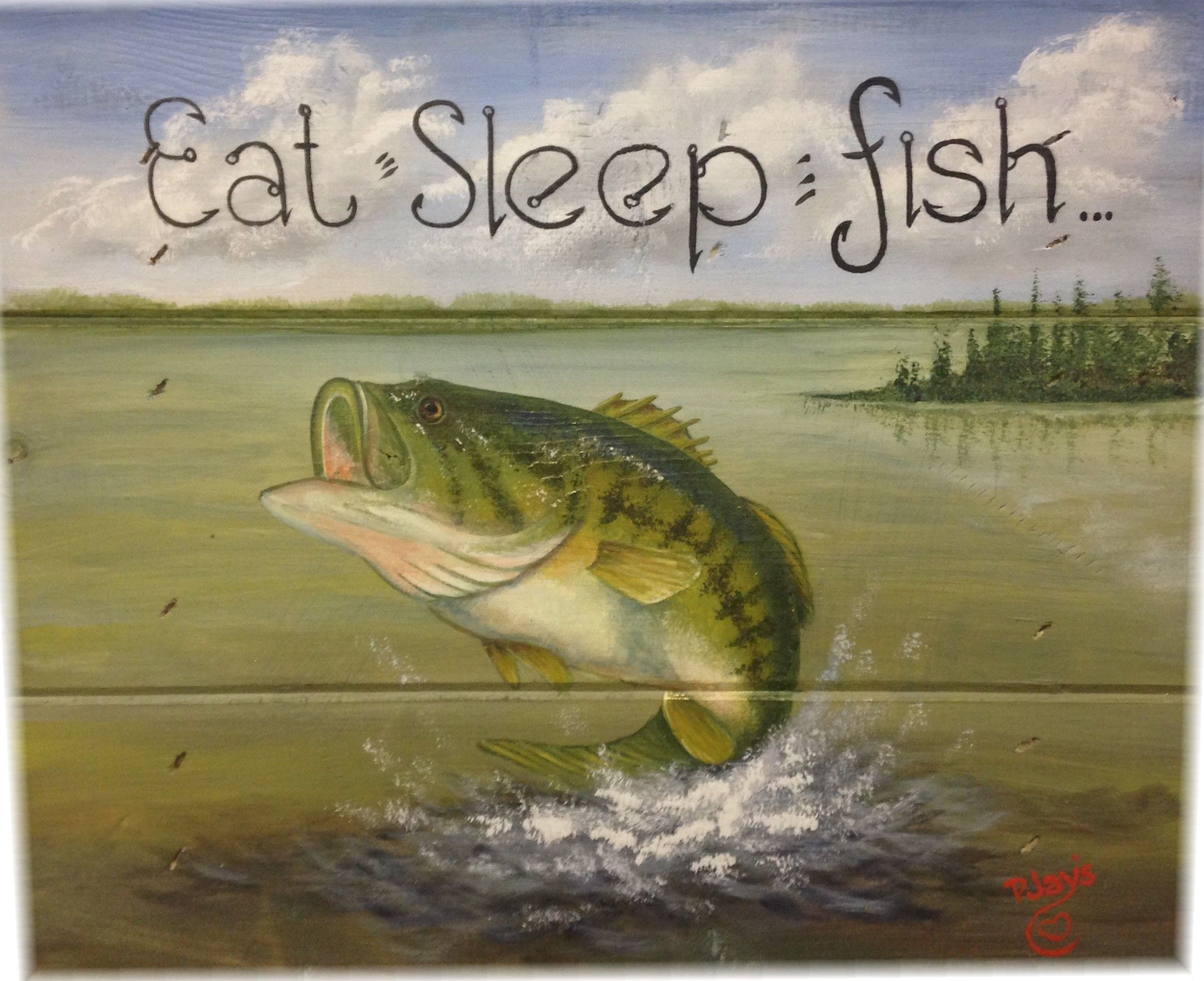 Hand Painted Large Mouth Bass Sign Fishing Painting Canvas Fish Painting Fish Art