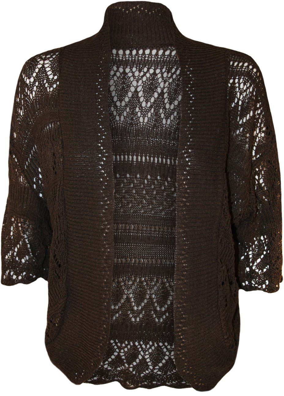 PaperMoon Women's Plus Size Crochet Knitted Short Sleeve Cardigan ...