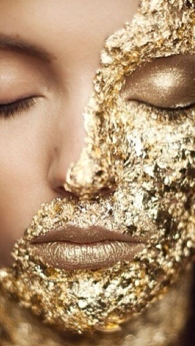 gold leaf glitter face paint makeup