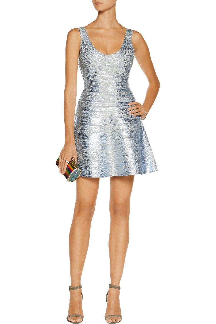 241e5db608cf Eva metallic coated-bandage mini dress | Hervé Léger | US | THE OUTNET