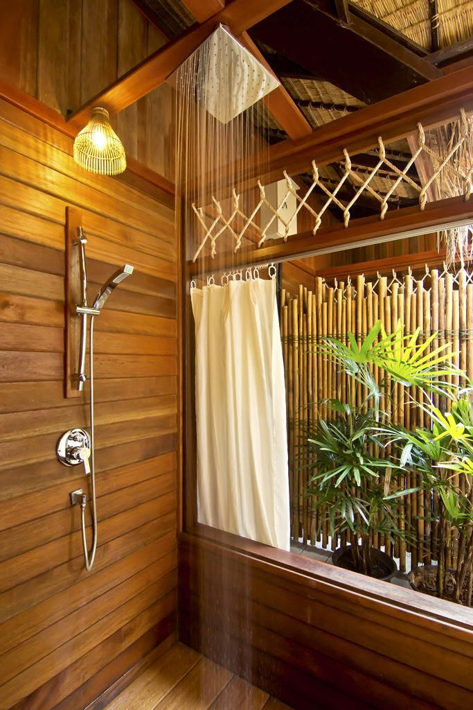 Enjoy the charming wooden bathroom, take a shower in the Jungle but in a comfortable way with a relaxing Rain shower with hot / cold water.  #floatinghotels #Thefloathouseriverkwai #Kanchanaburi #Thailand