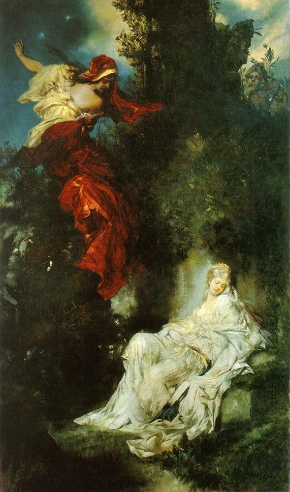 Snow White asleep by Hans Makart (1840-1884)