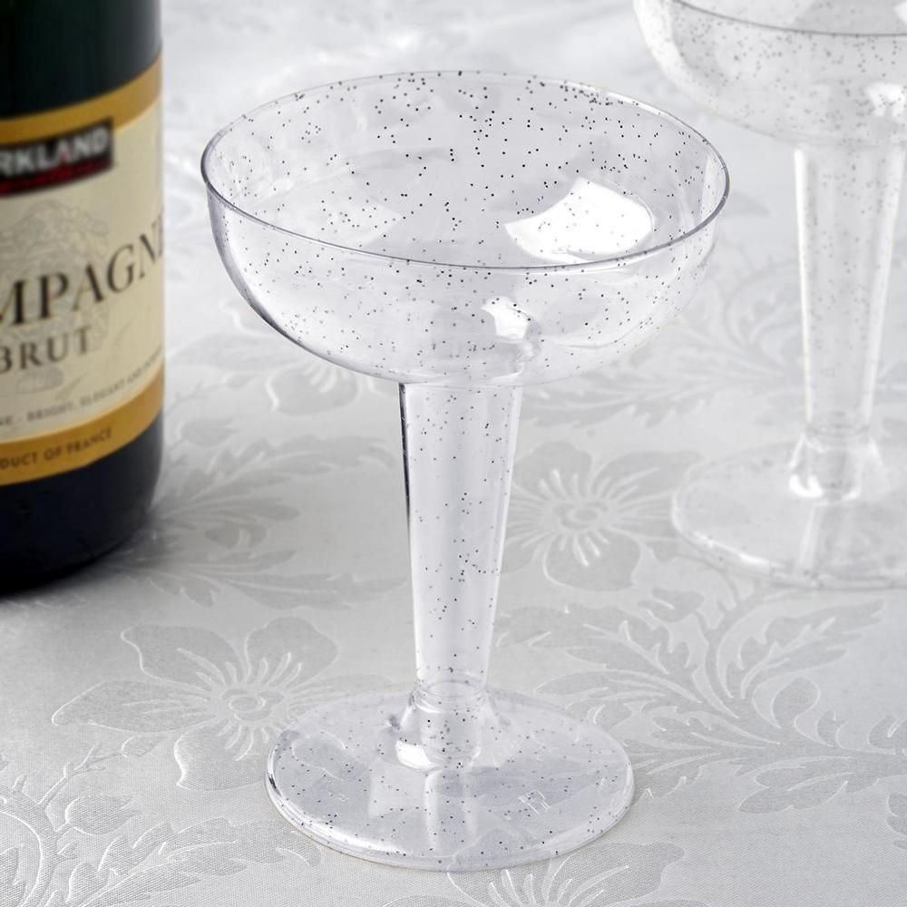 6 oz Plastic Gold Glittered Clear Champagne GLASSES Tableware Party Wedding