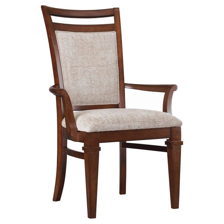 Furniture Brown Wooden Chair With Arm Rest Combined With Gray