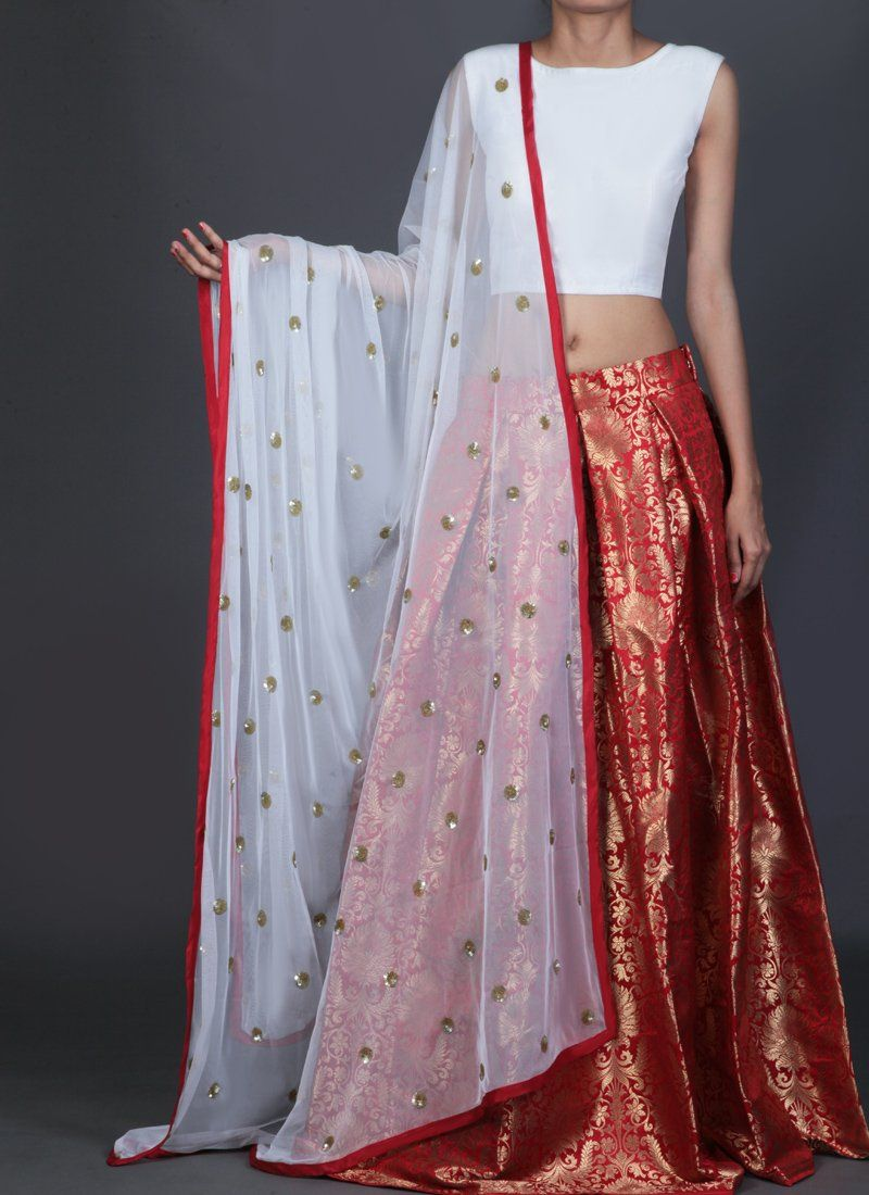 49fd20b601 White and Red Brocade Lehenga   Products in 2019   Lehenga, Party ...