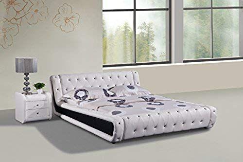 Best Seller Dorian White Faux Leather Modern Platform Bed 640 x 480