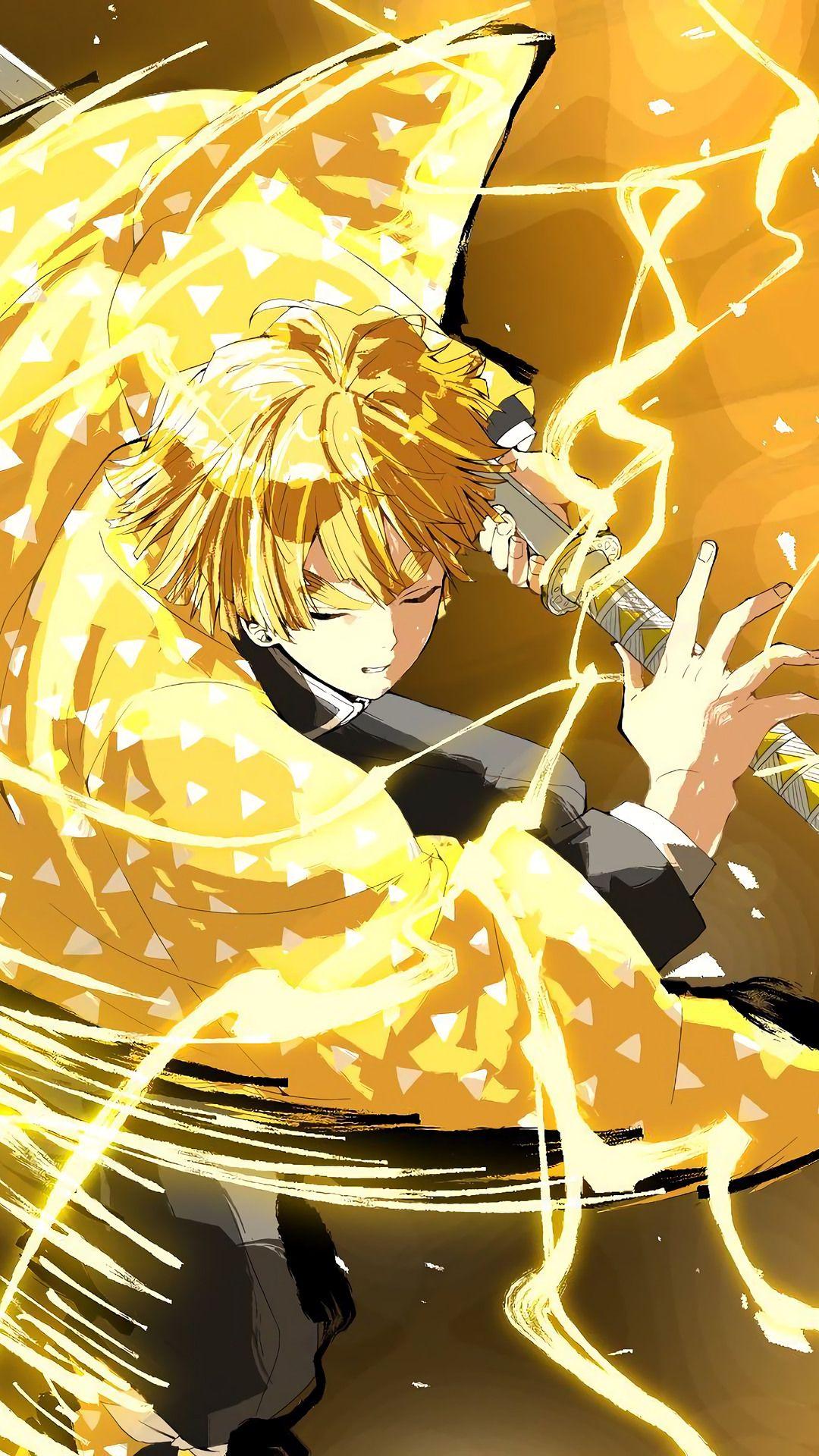 Agatsuma Zenitsu Mobile Wallpaper In 2020 Anime Wallpaper Anime Demon Anime