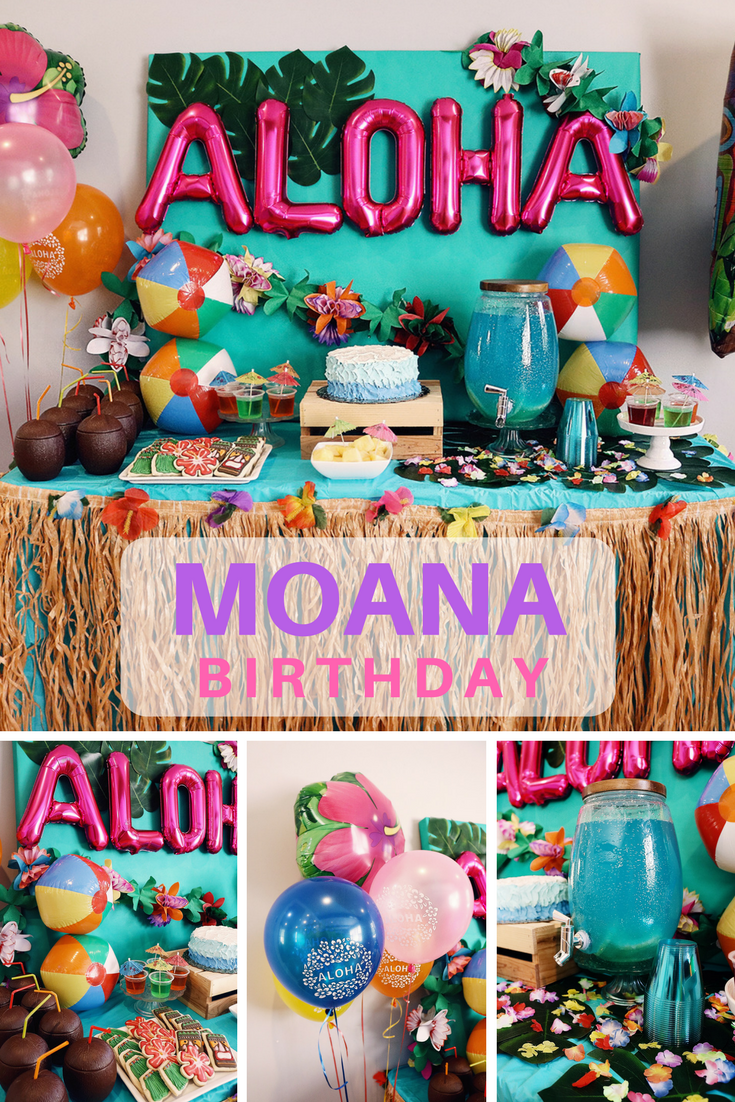 The Balloon Letters Saying Aubree With Number 4 In Flowers Girls Birthday Parties Moana