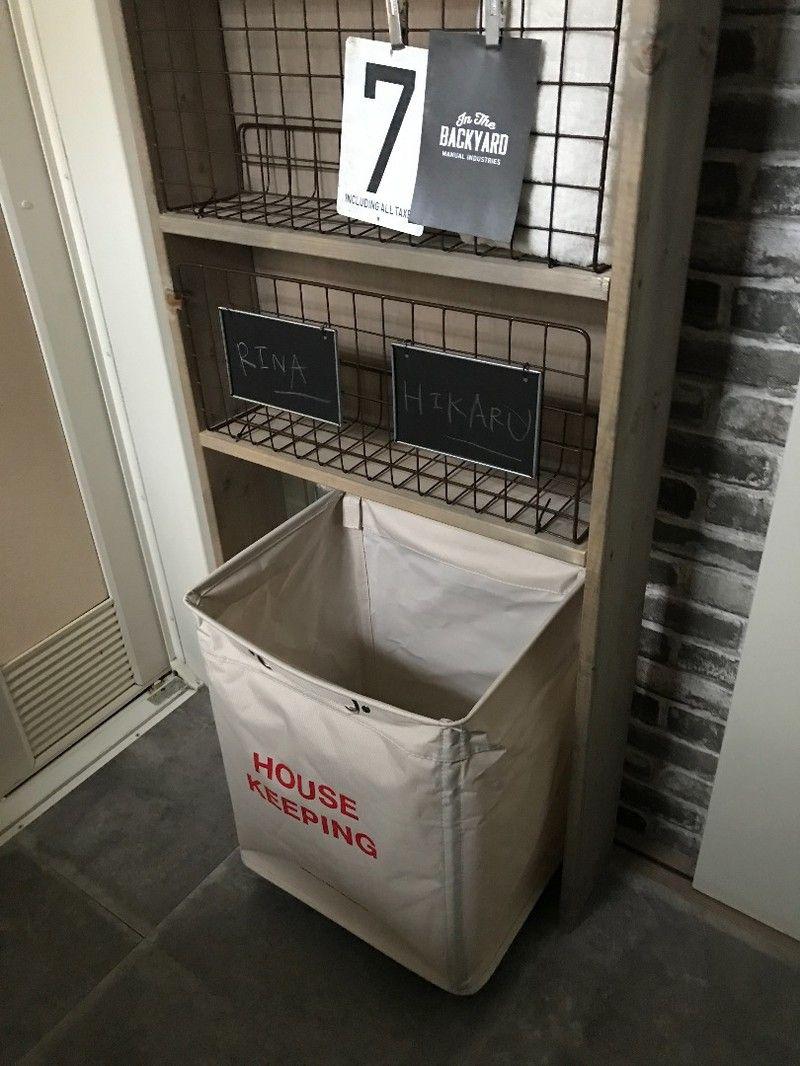 狭い洗面所にオススメ セリアのネットを使って家事も楽になるスリムな収納棚の作り方 収納棚の作り方 収納棚 インテリア 収納