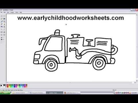 how to draw a cartoons firetruck easy step by step for