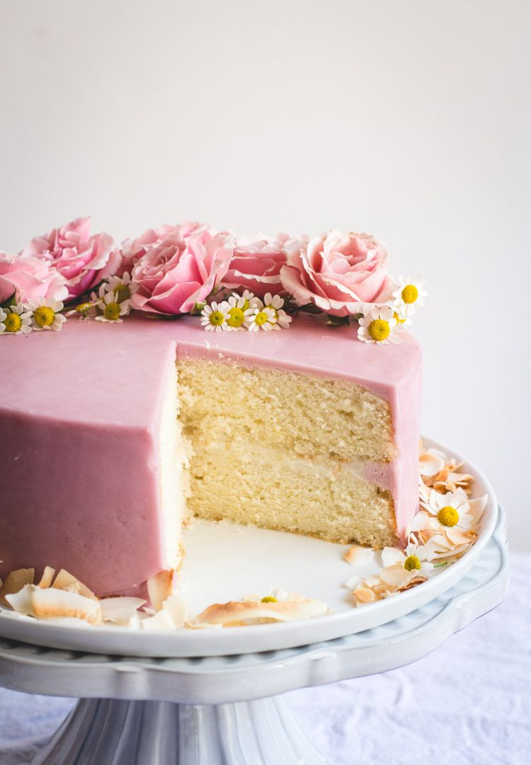 lemon cake with haupia filling and hibiscus buttercream