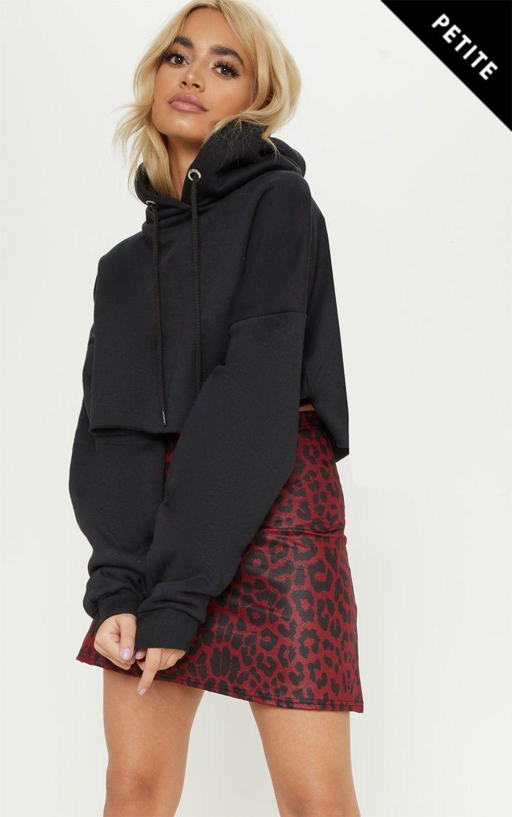 ae3d0443d486 Petite Burgundy High Waist A Line Leopard Print Skirt in 2019 ...