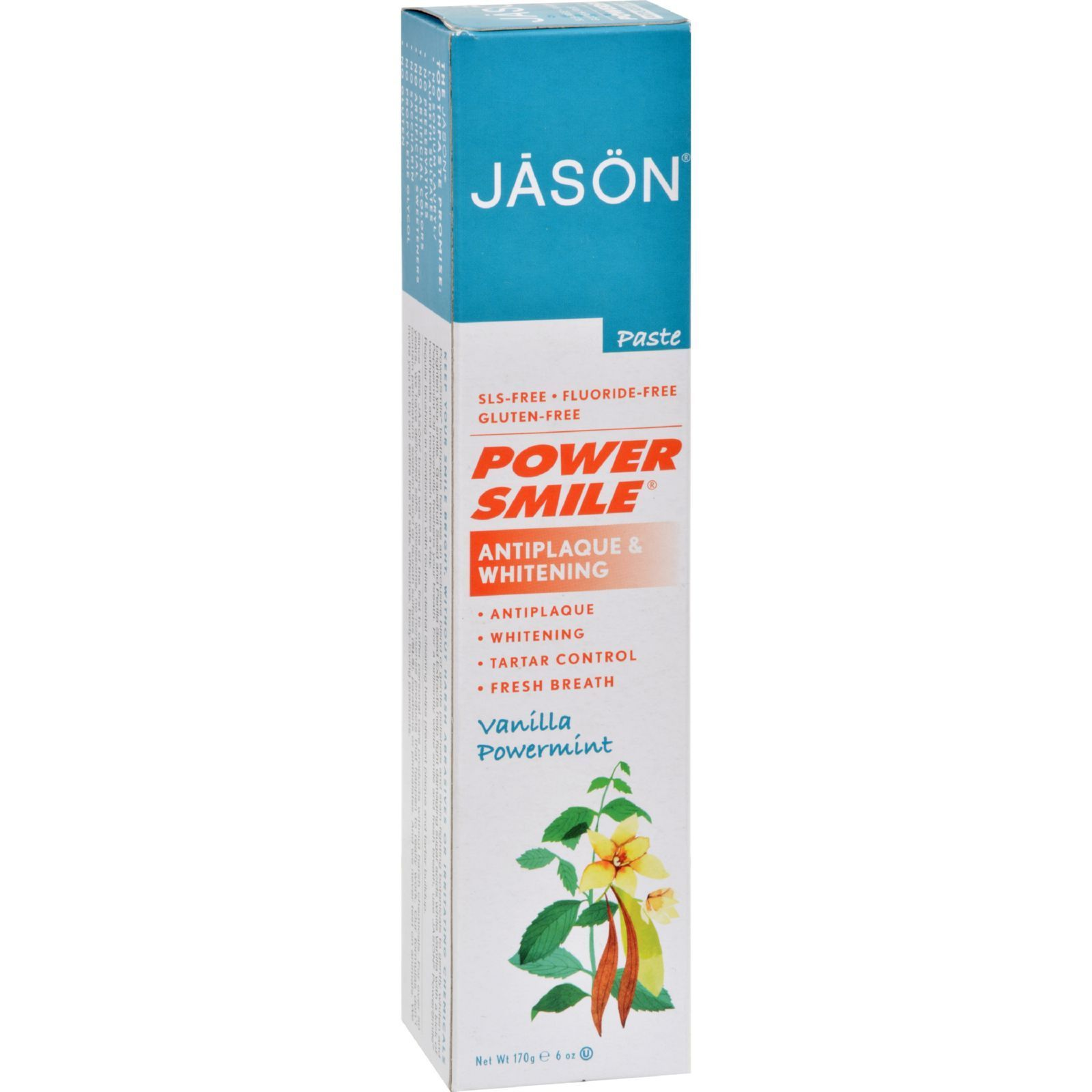 Jason PowerSmile Toothpaste Vanilla Mint - 6 oz - Jason PowerSmile Toothpaste Vanilla Mint Description: Exclusive Natural Whiteners! Vanilla Mint Toothpaste Fluoride Free toothpaste helps prevent the formation of cavity causing plaque buildup with Grapefruit Seed Extract, while freshening breath naturally with smooth Vanilla flavor followed by a kick of Peppermint, Silica and Sodium Bicarbonate (Baking Powder ) are natural whiteners that aid in the removal of stains, promoting a beautiful…