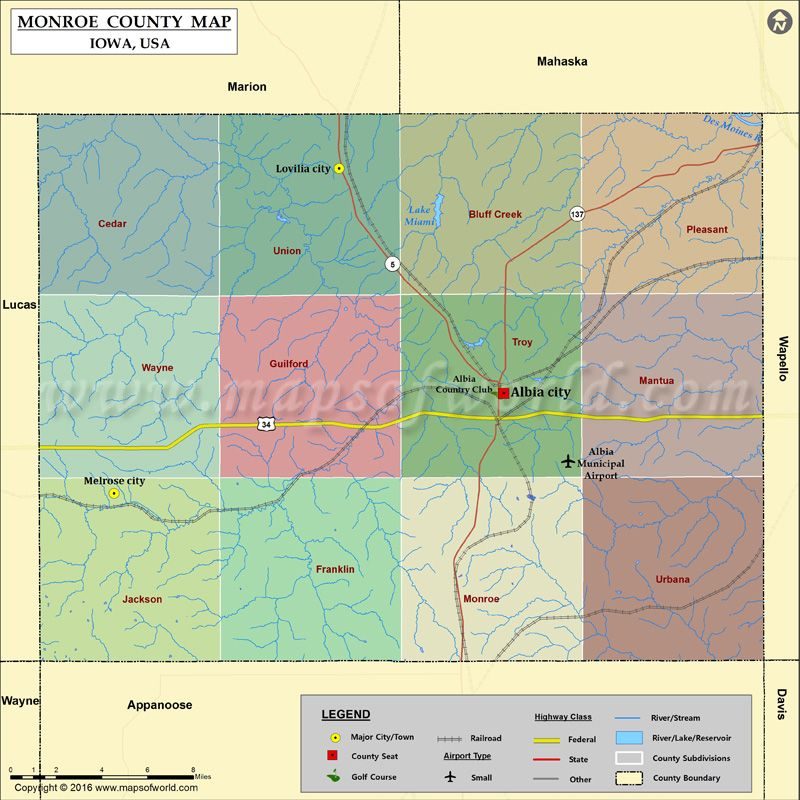 Monroe County Map For Free Download With Images County Map