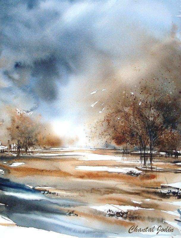 New paysages art pinterest paysages aquarelles et peinture - Paysage peinture facile ...