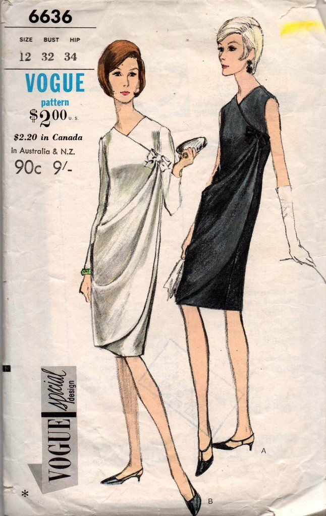 Vogue Special Design 6636 Womens Side Draped Evening Formal Gown 60s
