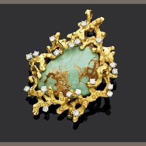Andrew Grima, yellow gold and diamond brooch