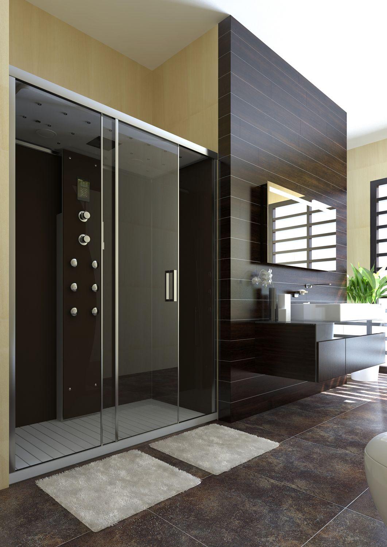 Ambiente de baño con plato de ducha de piel negra
