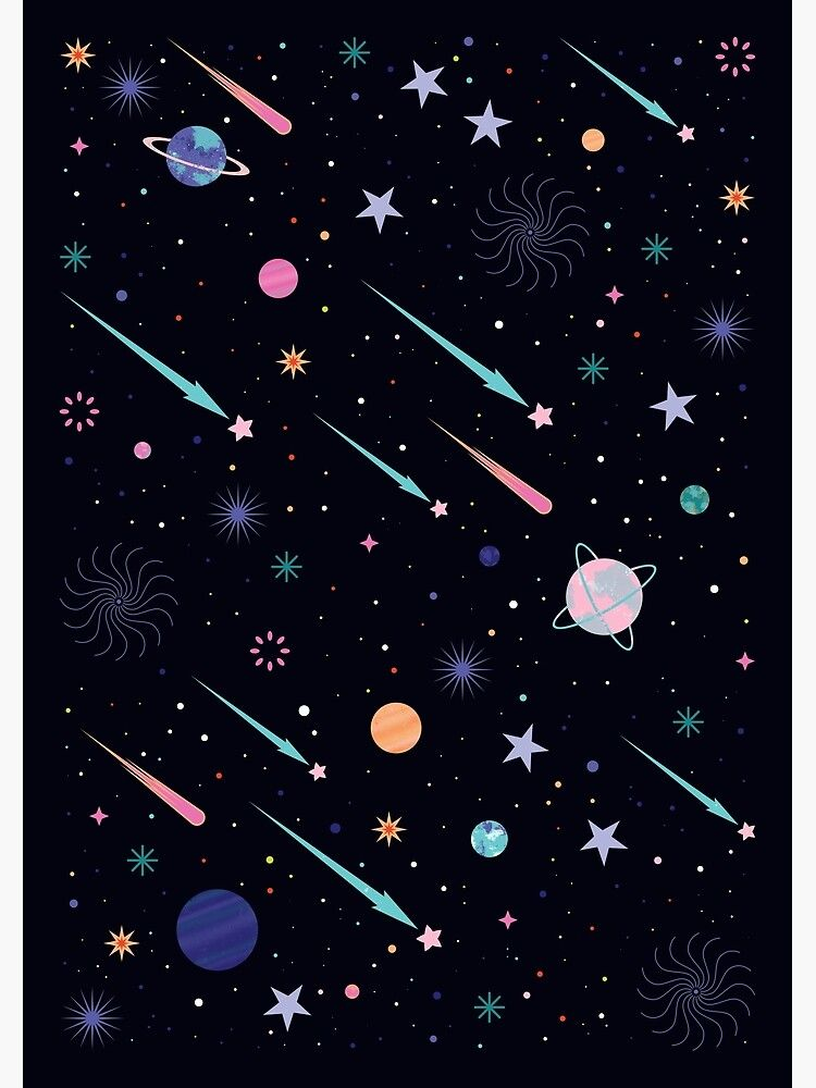 Galactic Poster By Carlywatts Redbubble Galaxy Wallpaper Cartoon Wallpaper Wallpaper Space