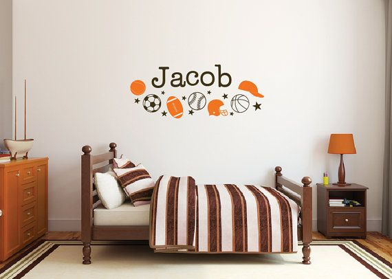 large letters for wall, sports decals, personalized name wall decals