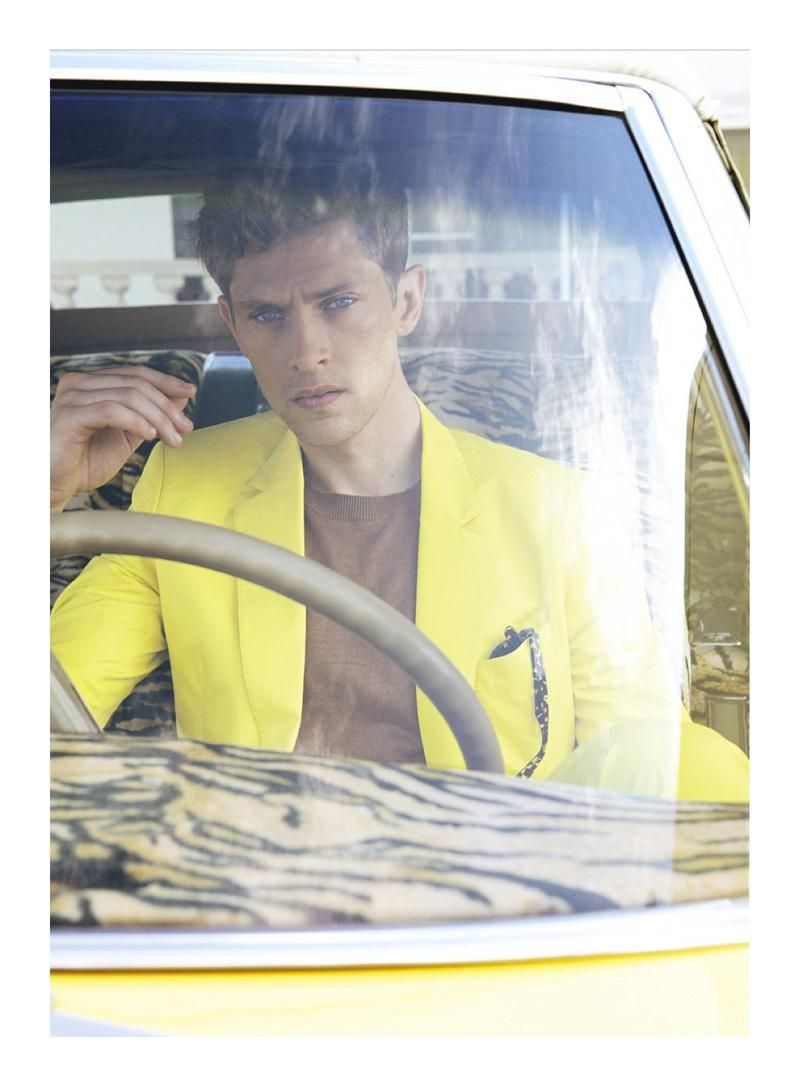 Mathias Lauridsen...men's yellow blazer with thin brown sweater